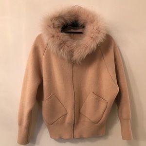 Zipper Sweater with Fur Hood